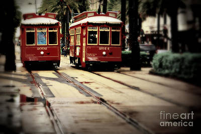 New Orleans Red Streetcars Art Print by Perry Webster