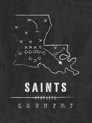 Football Digital Art - New Orleans Saints Art - Nfl Football Wall Print by Damon Gray