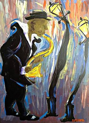 Painting - New Orleans Saxophone Player by Kerin Beard