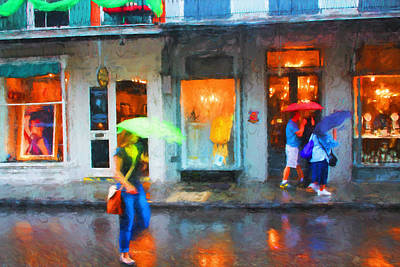 Photograph - Walking In The Rain - New Orleans Series 57 by Carlos Diaz