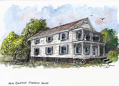 Painting - New Orleans Shotgun House by Barry Jones