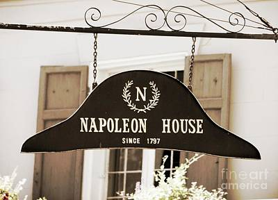 Photograph - New Orleans Sign - Napoleon House - Sepia by Carol Groenen