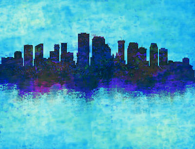 New Orleans Skyline Blue  Art Print