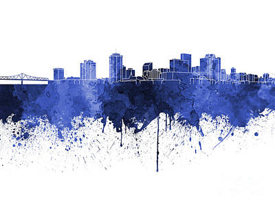 Grunge Painting - New Orleans Skyline In Blue Watercolor On White Background by Pablo Romero