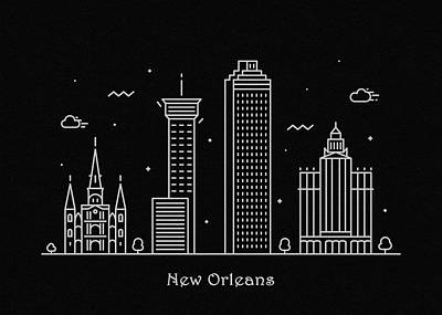 Drawing - New Orleans Skyline Travel Poster by Inspirowl Design