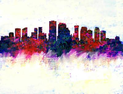 New Orleans Skyline Watercolor  Art Print