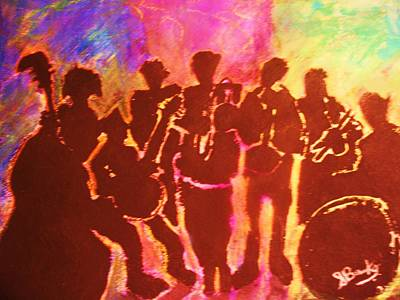 New Orleans Street Band At Sunset Print by Samuel Banks