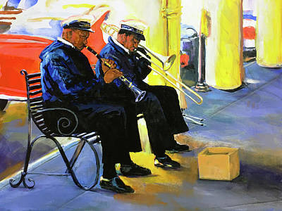 Decorative Benches Painting - New Orleans Street Jazz by Charles Wallis