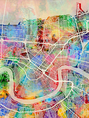 New Orleans Street Map Art Print by Michael Tompsett