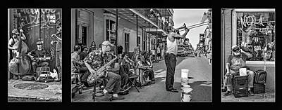 Music Royalty-Free and Rights-Managed Images - New Orleans Street Musicians Triptych bw by Steve Harrington