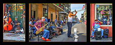 Music Royalty-Free and Rights-Managed Images - New Orleans Street Musicians Triptych by Steve Harrington