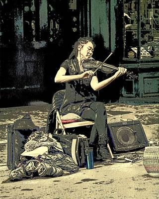 French Street Scene Digital Art - New Orleans Street Performer - Vagabond Virtuoso  by Rebecca Korpita