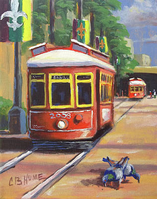 Painting - New Orleans Streetcar Canal St. by CB Hume