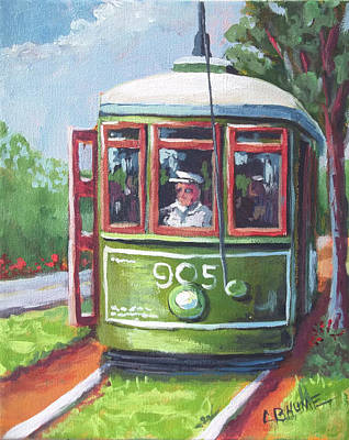 Painting - New Orleans Streetcar Garden District by CB Hume