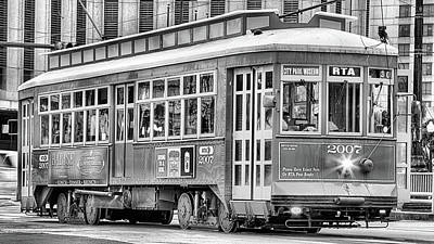 Canal Street Line Photograph - New Orleans Streetcar In Black And White by JC Findley