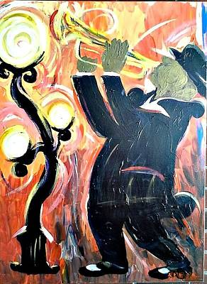 Painting - New Orleans Trumpet Player by Kerin Beard