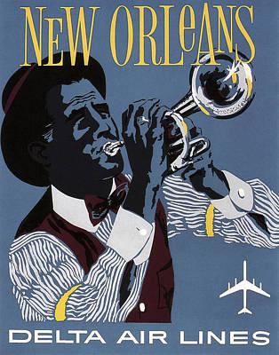 New Orleans Vintage Travel C. 1955 Art Print by Daniel Hagerman