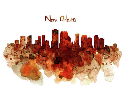 Mixed Media - New Orleans Watercolor Skyline by Marian Voicu