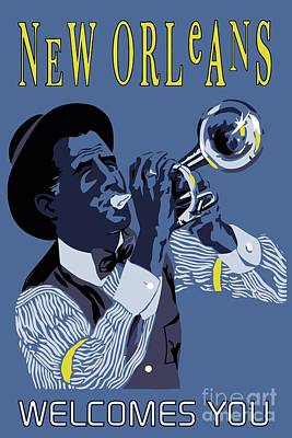 Trumpet Player Drawing - New Orleans Welcome You by Heidi De Leeuw