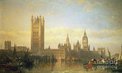 English Painting - New Palace Of Westminster From The River Thames by David Roberts