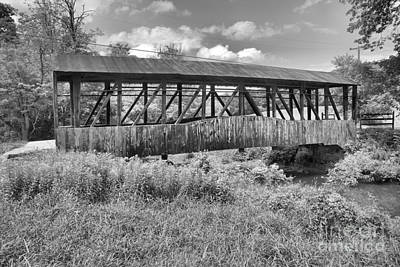 Photograph - New Paris Covered Bridge Black And White by Adam Jewell