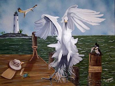 New Point Egret Art Print by Debbie LaFrance