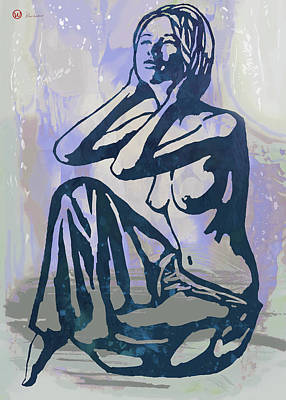 Featured Mixed Media - New Pop Art Nude Poster   by Kim Wang