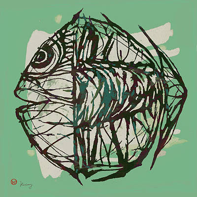 Neon Mixed Media - New Pop Art Tropical - New Fish Poster by Kim Wang
