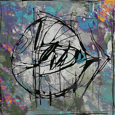 Neon Mixed Media - New Pop - Fish Art Poster by Kim Wang