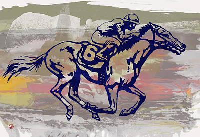 Abstract Horses Mixed Media - New Racing Horse  -  Pop Art Poser by Kim Wang