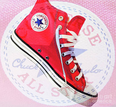 Converse Shoe Digital Art - New Red Converse by Don Pedro De Gracia