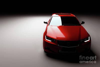 Photograph - New Red Metallic Sedan Car In Spotlight. Modern Desing, Brandless. by Michal Bednarek