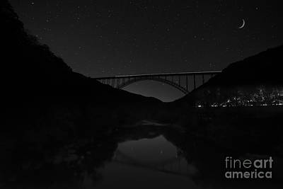 Photograph - New River Bridge At Night With Cars And Trains by Dan Friend