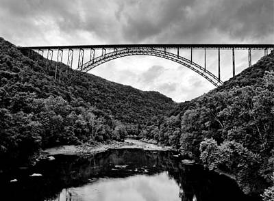 New River Gorge Bridge Photograph - New River Gorge Bridge In West Virginia Black And White by Brendan Reals