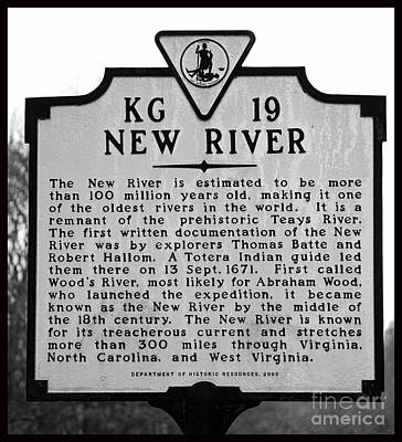 Photograph - New River Historical Marker by Kerri Farley