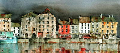 Painting - New Ross Quays Panorama by Val Byrne
