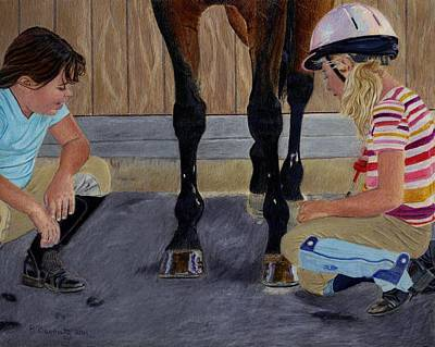 New Shoe Review Horse And Children Painting Art Print