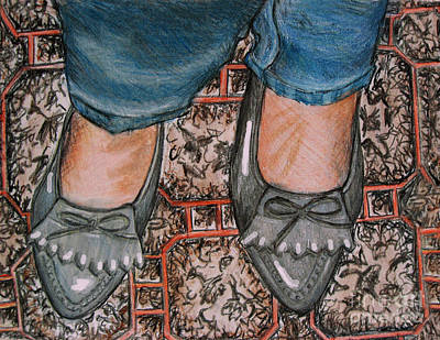Cahill Drawing - New Shoes by Orla Cahill