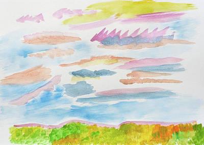 Painting - Strawberry Skies Watching by Meryl Goudey