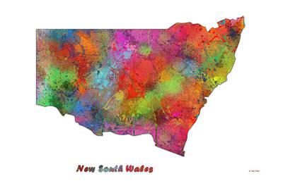 Wales Digital Art - New South Wales  Australia State Map by Marlene Watson