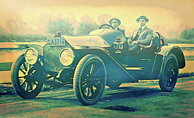 Digital Art - New Speedster In New York 1915 by David King