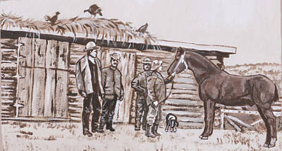 Painting - New Stallion At The Homestead Historical Vignette by Dawn Senior-Trask