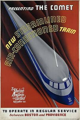 Cities Mixed Media - New Streamlined Air Conditioned Train - Railroad - Retro travel Poster - Vintage Poster by Studio Grafiikka