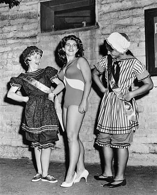 Photograph - New Swimwear Meets Old by Underwood Archives