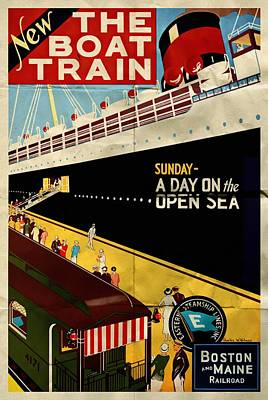 Mixed Media - New The Boat Train - Folded by Vintage Advertising Posters