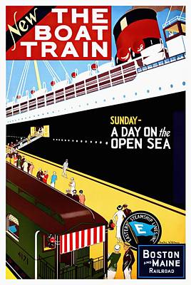 Mixed Media - New The Boat Train - Restored by Vintage Advertising Posters