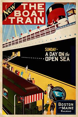 Mixed Media - New The Boat Train - Vintagelized by Vintage Advertising Posters