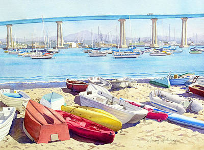 Bay Painting - New Tidelands Park Coronado by Mary Helmreich