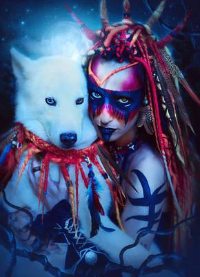 Siberian Husky Digital Art - Starry Nights by Areti Chatzipavlou