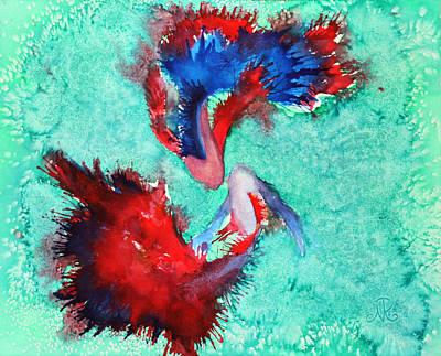 Betta Splendens Painting - Two Fish by Nina Tyksinski